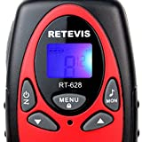Retevis RT628 PMR Walkie Talkie mit LC-Display (1 Paar, Rot) -