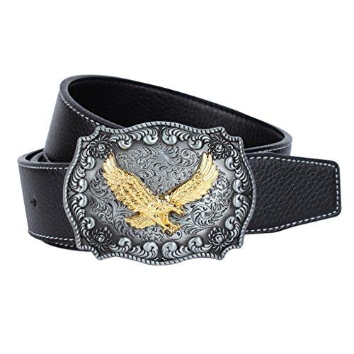MagiDeal 1 Stück Ledergürtel mit Adler Muster Schnalle für Damen - Geschenk - Schwarz (Cowgirl-schmuck)