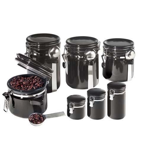 Oggi 7 Piece Round Ceramic Canister Set With Spoons - Black By Oggi Corporatiom