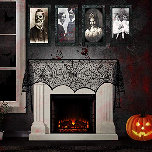Alkia Halloween Horror Portrait Lenticular und Halloween Party Dekoration schwarz Spitze Spinnennetz Kamin Mantel Schal, Halloween Requisiten, Halloween-Sammlung, ()