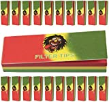 Rasta Themed cigarette Roaches/Filter Tips Rolling Paper Card 50 Page Per Booklet Red Green Yellow 20 Booklet