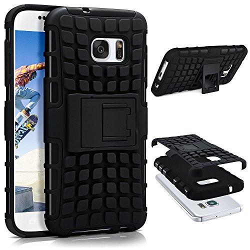 ONEFLOW Samsung Galaxy S7 | Hülle Silikon Hard-Case Schwarz Outdoor Back-Cover Extrem Stoßfest Schutzhülle Grip Handyhülle für Samsung Galaxy S7 Case Rückseite Tasche