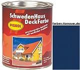 Pigrol Schwedenhaus-Deckfarbe, enzianblau, 2,5L Wetterschutzfarbe Holzfarbe für aussen