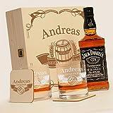 Holzkiste mit Jack Daniels No.7 | 6-tlg. Whisky Geschenk-Set New York Bar inkl. Gravur