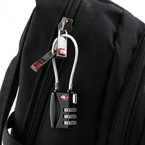 Tsa Kombination Gepäck Sperren (AccMart 2 x Sicherheits-Schloss, TSA genehmigt Sicherheits-flexible Cable Travel sperren, Re-settabelle 3-Digit Kombination Gepäck Schloss für Rucksack, Gym locker (schwarz))