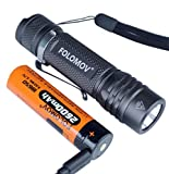 FOLOMOV 18650S, linterna táctica EDC con batería USB, 900 lúmenes, 15 modos, resistente al agua, con bloqueo, memoria, función de temporizador, Nichia 219D LED