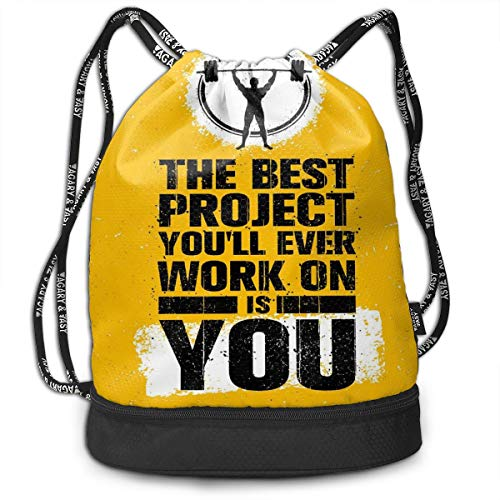 LULABE Printed Drawstring Backpacks Bags,The Best Project is You Phrase with Weightlifter Fit Body Concept,Adjustable String Closure -