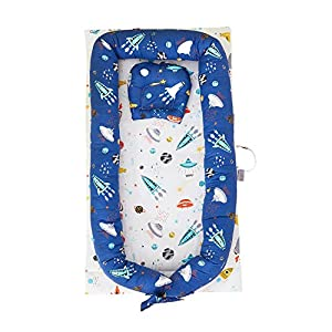 TEALP Multifunctional Baby Nest Navy Blue Galaxy Outer Space, Baby Bassinet for Bed/Lounger/Nest/Pod/Cot Bed/Sleeping, Breathable & Hypoallergenic Cotton (0-24 Months)   5