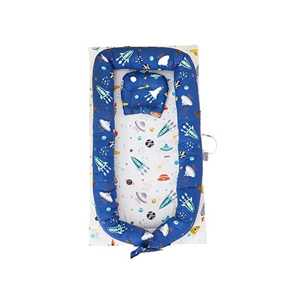 TEALP Multifunctional Baby Nest Navy Blue Galaxy Outer Space, Baby Bassinet for Bed/Lounger/Nest/Pod/Cot Bed/Sleeping, Breathable & Hypoallergenic Cotton (0-24 Months) TEALP 【Breathable and Hypoallergenic Cotton】hypoallergenic materials, breathable and non-toxic. We use 100-percent cotton fabric and breathable, hypoallergenic internal filler, which is safe for baby's sensitive skin. It will give your child serene, safe, and sound sleep in their lovely co sleeping crib. 【Adjustable Design】1 baby nest, 90x55x15cm;1 pillow30x30cm, Suitable for 0-24 Month. GROWS WITH YOUR BABY. Being adjustable, the side sleeper grows with your baby. Simply loosen the cord at the end of the bumpers to make the size larger. The ends of the bumpers can be fully opened. 【Multifunctional and Portable】 Use the infant nest as a bassinet for a bed, baby lounger pillow, travel bed, newborn pillow, changing station or move it around the house for lounging or tummy time, making baby feel more secure and cozy. 1