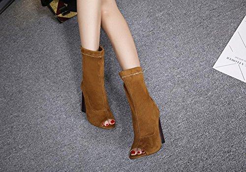 Aisun Damen Sexy Peep Toe Blockabsatz High Heels Halbschaft Sommerstiefel Sandale Mit Reißverschluss Braun