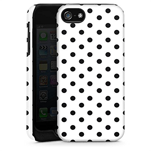 Apple iPhone 6 Housse Étui Silicone Coque Protection Polka points Noir et blanc Motif Cas Tough brillant