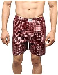 Neska Moda Men's Premium Elasticated Cotton Maroon Boxer With 1 Back Pocket-MFN-XB101