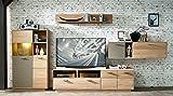 Wohnzimmerschrank, Wohnwand, Schrankwand, Anbauwand, Fernsehwand, Wohnzimmerschrankwand, Wohnschrank, Wildeiche, Basalt, anthrazit, Beleuchtung, grau
