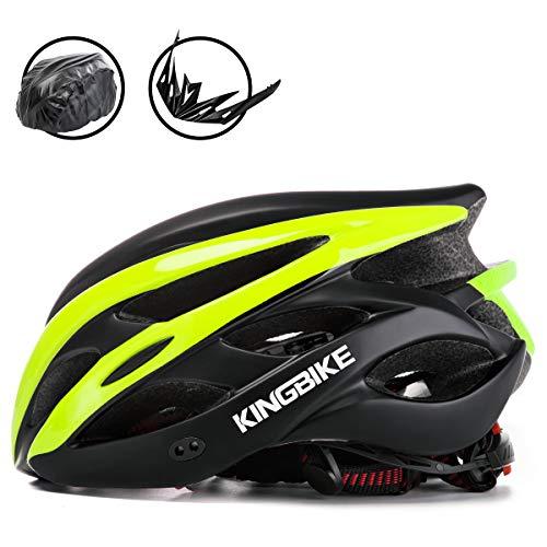 KING BIKE Fahrradhelm Helm Bike Fahrrad Radhelm mit LED Licht FüR Herren Damen Helmet Auf Die Helme Sportartikel Fahrradhelme GmbH RennräDer Mountain Schale Mountainbike MTB(Schwarz Grün, XL(59-63CM))
