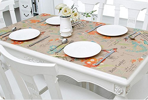 TINE HOME Soft Glas PVC Tischdecke wasserdicht Anti-hot Tisch clothtransparent Tisch Matten Kunststoff Pads Kristall Teller Kaffee Matten, 007, 70 * 130 cm