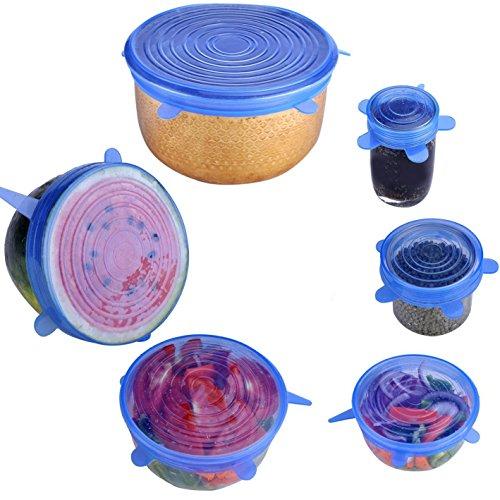 Silicone Stretch Coperchi per tazze ciotole contenitori per alimenti, coperchio, e set di 6pezzi