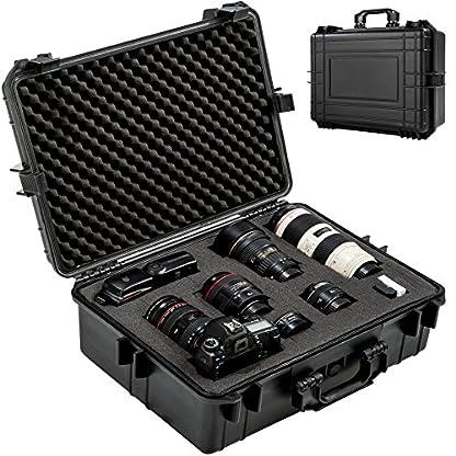 TecTake Maletín para cámara de Fotos 35 l con 4 esterillas de Espuma fotográfica protección Negro
