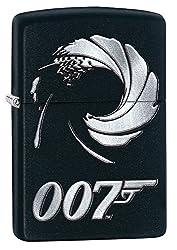 Zippo, James Bond-Feuerzeug, offizielles Lizenzprodukt, windsicher, langlebig M 007 Schwarz