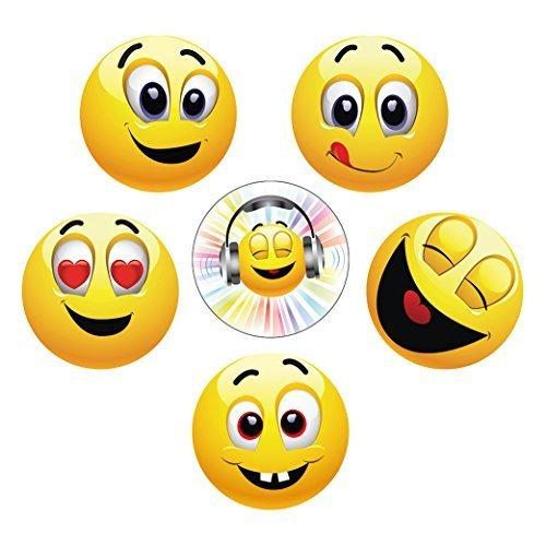 'LUSTIGE SMILEY / EMOJI-MAGNETE (Ø 5,6 cm gross)': Lustiges Kühlschrank-Magnet-Set von EDITION...