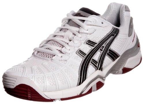 ASICS Gel-Resolution 3 Scarpa Tennis, (Bianco/Negro/Rosso), 40.5