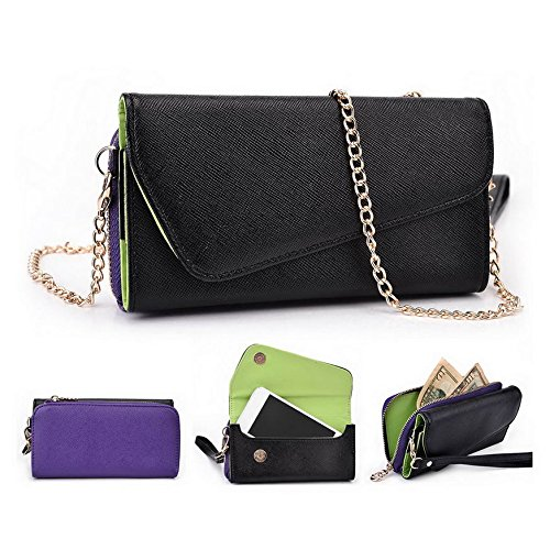 Kroo d'embrayage portefeuille avec dragonne et sangle bandoulière pour Lenovo Appareil/A316i Smartphone Multicolore - Black and Green Multicolore - Black and Purple