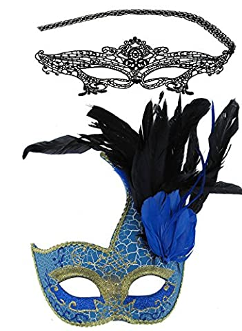 Couple Halloween Costume Masquerade Ball Lace Masks with Feathers