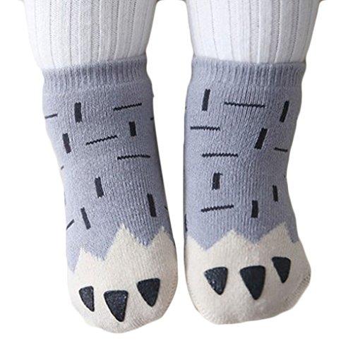 QHGstore 1Pair bello del bambino infantili inverno caldo cotone morbido calze antiscivolo calzini del pavimento grigio S