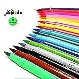 Magicdo 24Cols Dual Tips Art Markers,Waterproof Sketch Marker Pens Set,Blendable Brush Makers with Soft Makers with Soft Real Brush Tips for Adult Coloring Books, Manga, Comic, Calligraphy