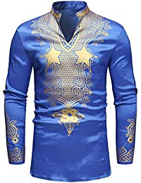 BUSIM Men's Long Sleeved Shirt Autumn Winter Luxury African Style National Style Printing Casual Slim Fashion... - B07H9BCGVL