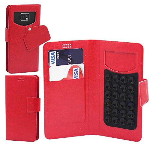 OnePlus Two (2) Premium-Qualität super dünnes Saug-Etui Hülle Cover aus PU-Leder mit Touchstift / Eingabestift und Freisprecheinrichtung mit eingebautem Mikrofon - Schwarz / Black- von Gadget Giant® Rot / Red