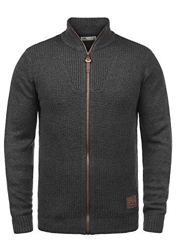 !Solid Tristian Herren Strickjacke Cardigan Feinstrick Mit Stehkragen und Reißverschluss, Größe:S, Farbe:Dark Grey Melange (8288)