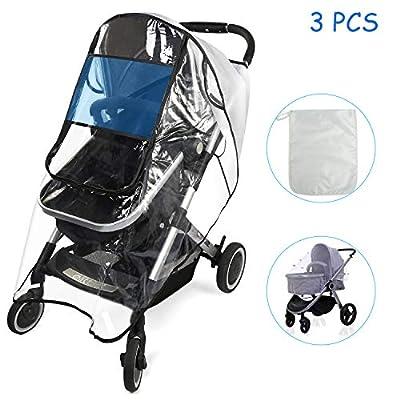 BelleStyle Protector de lluvia universal para cochecitos capazos de bebé Protector de Lluvia con ventana Se adapta a cualquier carrito con una Mosquitera para Cochecito y bolsa de almacenamiento
