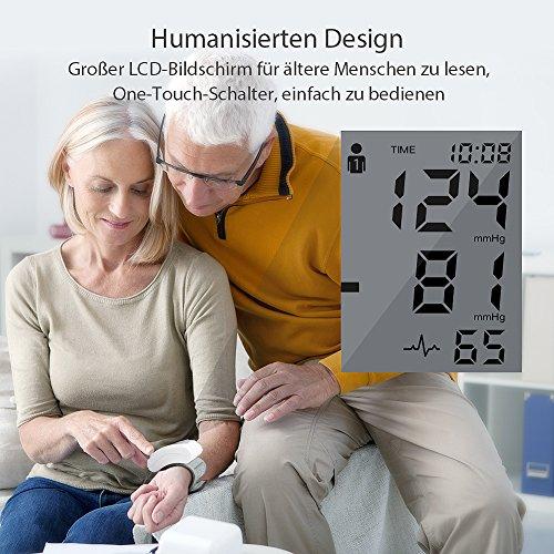 Blutdruckmessgerät Handgelenk Hylogy Vollautomatische professionelle Blutdruk-und Pulsmessung 2*120 Speicherplätze, LCD großem Display und Tagbare Aufbewahrungsbox - 4