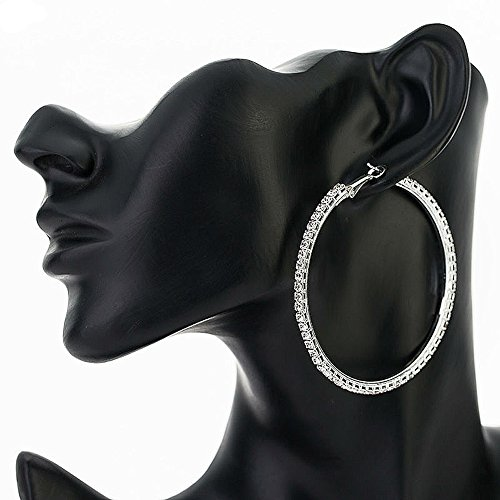 Große Strass Creolen Ohrringe Ohrhänger Ohrschmuck Silber Rund 6 cm