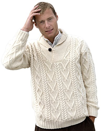100% Merino Wolle Aran Pullover Umlegekragen, Natürliche (XX-L) (Reinigungs-wolle Pullover)