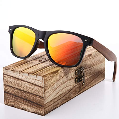 Schwarze Nussbaum Sonnenbrille Holz Polarisierte Sonnenbrille Herren Brille Herren UV400 Schutzbrille Holz Original Box (Frame Color : Polarized, Lenses Color : Orange Wood)