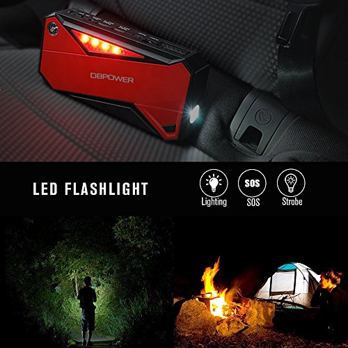 DBPOWER 600A Peak 18000mAh Portable Car Jump Starter, Emergency Battery Booster Pack, Smart Power Bank with Compass, LCD Screen, and LED Flashlight for Laptop Phone Tablet and More (Black/Red)
