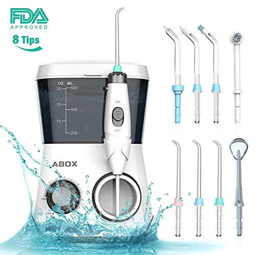 ABOX Idropulsore Dentale con 8 Ugelli Multifunzione, 600mL Filo Interdentale Elettrico per Famiglia, 10 Livelli Regolabili di Pressione d'Acqua Timer di 3-Minuti, Cura e Igenie Dentale Professionale