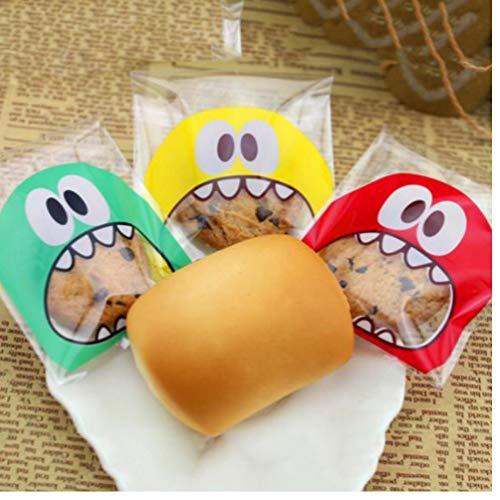 Zonster 100Pcs 7x7cm Cartoon-Monster-Plätzchen-Süßigkeit-Beutel selbstklebend Kunststoff-Beutel für Kekse Backen Package Hochzeit Geschenke für Gäste
