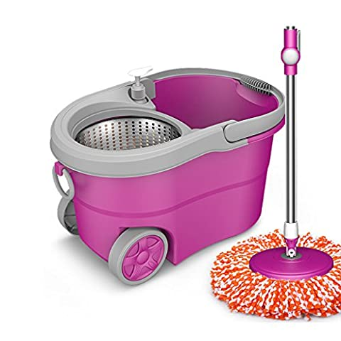 BEITE- Easy Wring Spin Mop and Bucket System, luxueux avec 4 roues, avec 2 têtes en microfibre, système à double fonction pour le lavage et la centrifugation ( Couleur : Violet )