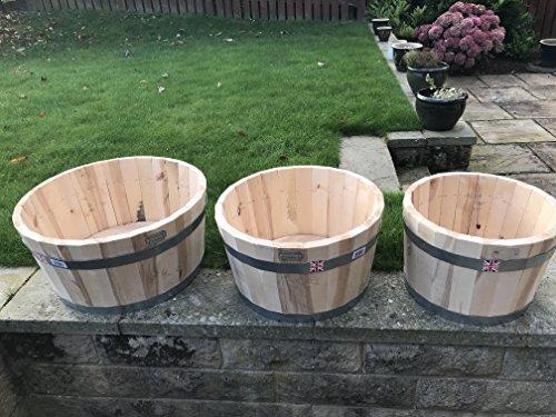 Lot de 3, Bouleau massif 22 mm en bois dur Pot de jardin, idéal pour l'hiver Blubs Pot de fleurs, prêt à peindre