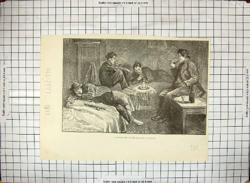 old-original-antique-victorian-print-1890-scene-opium-den-east-end-london-drugs-smoking-181g311