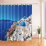 GoHEBE City, Santorin Griechenland-, Weiß-Palace Vorhang für die Dusche 180,3x 180,3cm Polyester,