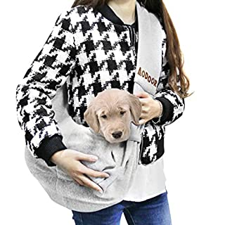 Aodoor Reversible Pet Sling Carrier Hands-free Sling Pet Dog Cat Carrier Bag Soft Comfortable Puppy Kitty Rabbit Double-sided Pouch Shoulder Carry Tote Handbag (Grey)