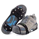 Songwin Versión Mejorada de Crampones 10 Dientes Antideslizante Zapato/Acero Inoxidable y Silicona Hielo Tracción Spikes,Hielo Grips para Caminar Sobre la Nieve y el Hielo.