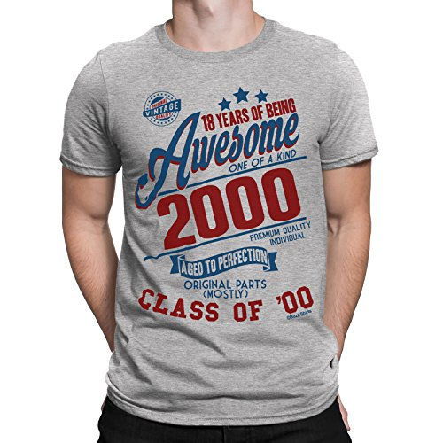 18 Years Of Being AWESOME Hommes 18th T-Shirt Class of 2000 Cadeau d'anniversaire Aged to Perfection par Buzz Shirts