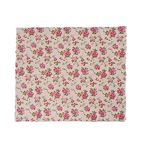 Souarts Textile Tissu Coton Lin pr Diy Patchwork Couture Motif Rose 97cmx50cm