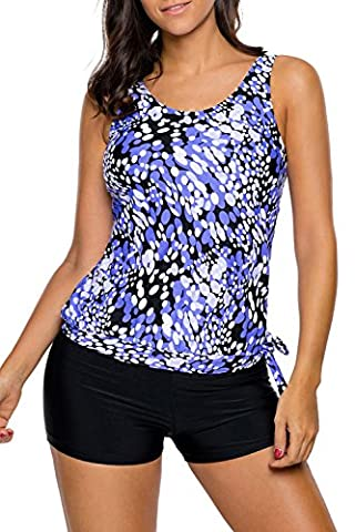 Happy Sailed Ladies Blue Open Back Printed Top Black Shorts