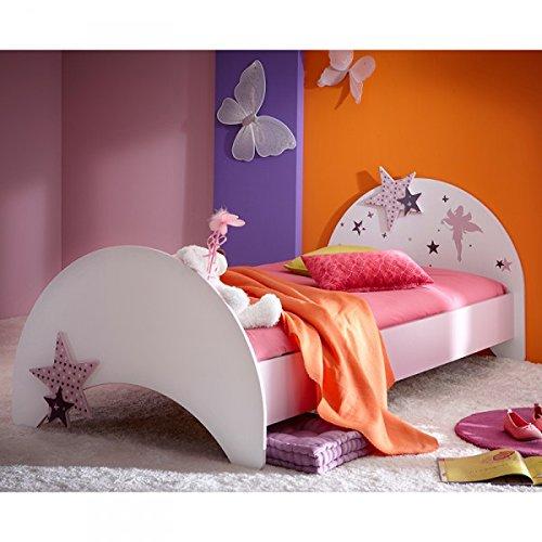 Jugendbett Sternchen 90*200 cm lila weiß Kinderbett Jugendliege Bettliege Bett Holz Bettgestell Mädchen Jugendzimmer Kinderzimmer