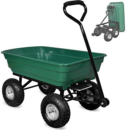 Deuba Gartenkarre | 300 kg | Kunststoff | Kippfunktion | Lenkachse | Transportwagen Bollerwagen Muldenkipper Kippwagen